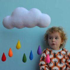 felt mobile - big cloud & colorful raindrops