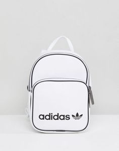 adidas Originals Mini Backpack In White Faux Leather 2769b0a3bf439
