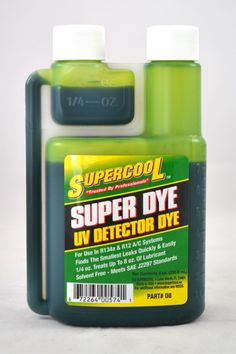 Green A/C U/V Dye Self-Measure bottle treats 32 vehicles 8 oz. (237 ml)