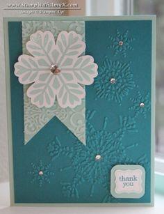 Bold Snowflake - Christmas thank you card Scrapbooking, Scrapbook Cards, Holiday Cards, Christmas Cards, Snowflake Cards, Snowflakes, Christmas Thank You, Handmade Thank You Cards, Winter Cards
