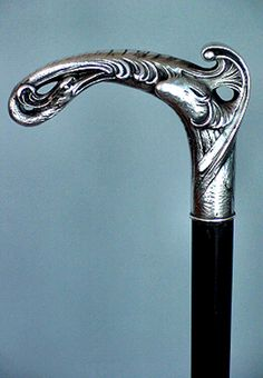 "Art Nouveau Crested Bird Walking Stick 1900.   L-Shaped Silver Handle in the Form of a Crested Bird with a Long Beak, Ebony Shaft with a 1"" Bullet Type Metal Ferrule, Possibly French, Ca. 1890, 35-1/2""L"