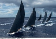 Photo by Onne van der Wal - Five J Class Yachts line up as they sail upwind during the St. Barth's Bucket Regatta. This is the most J Class ...