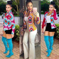 Womens Ladies Long Sleeve Formal Coats African Print Dashiki Short Casual Jacket