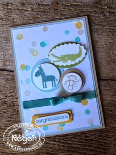 Stampin' Up! Zoo Babies stamp set, Circle punch, Oval punch, Scallop Oval punch, Modern Label punch and Word Window punch... By Atelier Negen - Laulijn