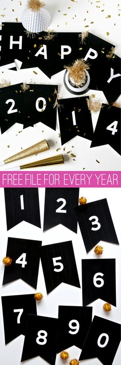 Happy New Year Banner for ALL YEARS! Free printable via @PagingSupermom