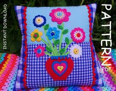 CROCHET PILLOW PATTERN, Mothers day gift, Applique Cushion Pattern, Patchwork Pillow pattern, Crochet applique pattern, pdf patterns for mum by KerryJayneDesigns on Etsy https://www.etsy.com/listing/183809291/crochet-pillow-pattern-mothers-day-gift