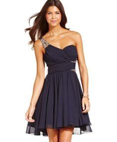 City Studios Juniors' Rhinestone One-Shoulder Dress - Dresses - Juniors - Macy's