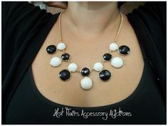 J. Crew Inspired Bubble Dot Necklace in Black/White Go to:  facebook.com/hotflairs  etsy.com/hotflairs