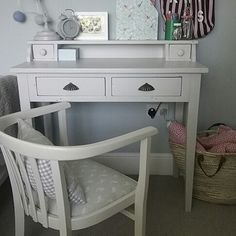 Desk painted in Little Greene French Grey Pale Little Greene, French Grey, Paint Colours, Palette, Vanity, Desk, Table, House, Painting
