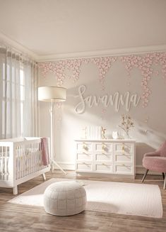 Baby Room Themes, Baby Girl Nursery Decor, Nursery Room Decor, Baby Bedroom, Baby Decor, Princess Nursery Theme, White Nursery, Nursery Wall Decals, Project Nursery