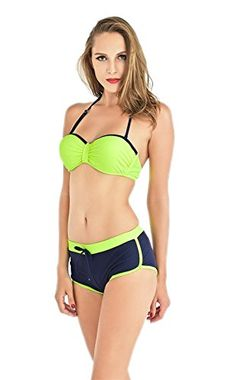 4b6c1a31d0 BRANDMAN Underwire Padded Top with Boy Short Bottom 2pcs Swimsuit Sexy  Bikini