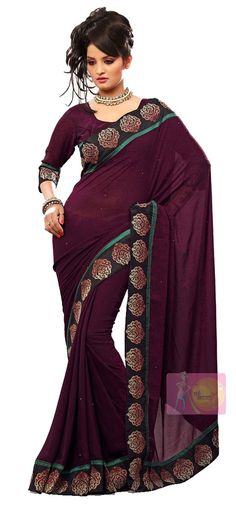Purple stylish georgette printed saree with fancy lace border.
