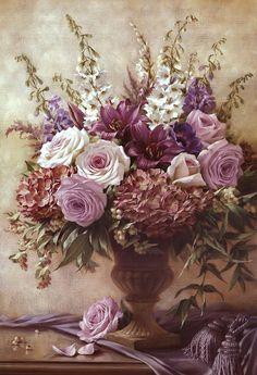 Symphony Bouquet II by Russian Painter Igor Levashov Arte Floral, Flower Prints, Flower Art, Detailed Paintings, Illustration Blume, Decoupage Vintage, Vintage Flowers, Painting & Drawing, Beautiful Flowers
