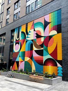 Mural Wall Art, Graffiti Wall, Graffiti Canvas Art, Murals Street Art, Street Art Graffiti, Arte Bar, Dynamic Painting, Garden Mural, Abstract Geometric Art