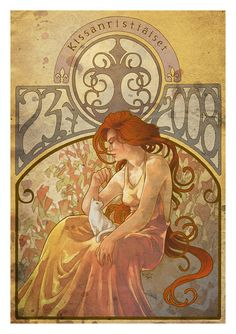 Art Nouveau poster. Woman with cat.