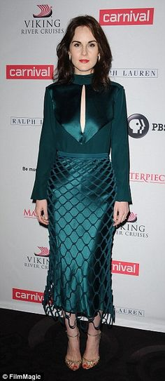 Lovely ladies: Michelle Dockery led the glamour as she joined Downton Abbey cast members f...