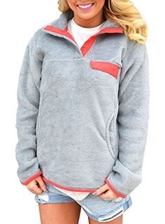 53eca8c3cfcc2 SALE PRICE -  19.99 - HOTAPEI Women s Casual Long Sleeves Stand Collar  Buttons Pockets Fleece Pullover