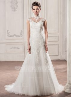 A-Line/Princess High Neck Court Train Ruffle Zipper Up Cap Straps Sleeveless Church General Plus No Winter Spring Summer Fall Ivory Tulle Lace Wedding Dress