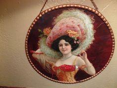Antique Vintage Victorian Flue Cover w/ Portrait of Beautiful Lady Gorgeous Hat