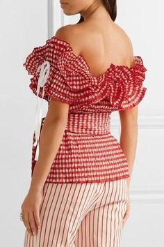 de8421412e2a Rosie Assoulin - Iris off-the-shoulder ruffled gingham seersucker top