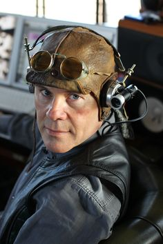 Dieselpunk: the electropop music composer Thomas Dolby with his head gear  He's got gadgets on the side!