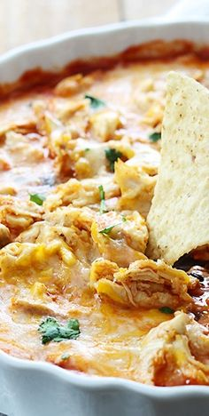 Chicken Enchilada Dip - Cheesy and easy