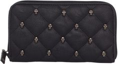 Rock Rebel Quilted Skull Vegan Vinyl Wallet [W04QS] - $32.00 : Mystic Crypt, the most unique, hard to find items at ghoulishly great prices!