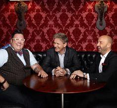 Graham Elliot, Gordon Ramsay and Joe Bastianich on my fav show Master Chef. New season just started!! Whoo hoo!