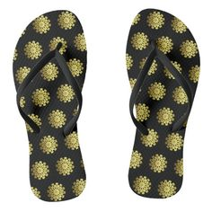 #ad Snowflakes, Flip Flops, Slip On, Sandals, Abstract, Pattern, Prints, Gold, Black