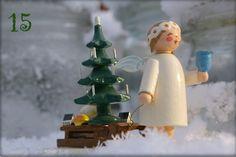 15. Türchen: Wendt und Kühn Margaritenengel mit Schlitten im Schnee