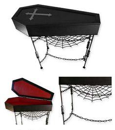 Coffin...perfect for a buffet table (you can even store a table cloth inside!), though I would remove the spider web and chains.