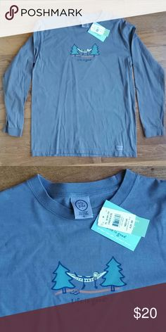 Life is good long sleeve tee 100% cotton new with tags life is good tee. Super comfortable and would make a great present for your friend who loves their Eagles nest outfitters (ENO) hammock. Color I'd called chocolate. It is a grey ish brown. Life is Good Shirts Tees - Long Sleeve