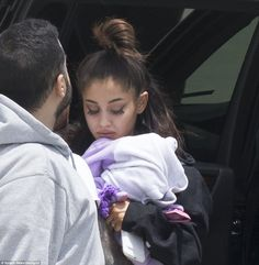 Ariana Grande was seen for the first time since a suicide bomber set off an improvised device at her concert in Manchester on Monday night