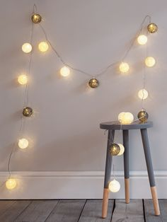 Our stylish pompom string lights are made up of twenty four warm white LED lights encased in large spun cotton globes. Each garland includes delicately spun cotton globes in shades of white, cream and grey that cast a soft glow across the room when lit. Hang around a bed frame, bundle into a vase or take a look at our blog for ideas on how to incorporate lighting into your home. Click here to view our useful lighting buying guide.