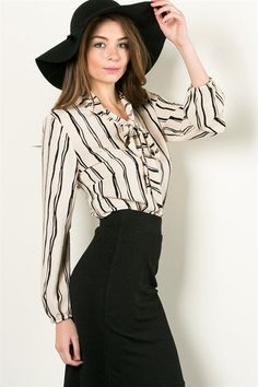 Taupe Black Stripe Blouse with Neck Tie