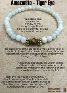 "Pale azure blue amazonite is know as the lucky ""Hope Stone"". It will be lucky for all your hopes and dreams.   ABUNDANCE: Amazonite + Tiger's Eye + Skull Yoga Mala Bead Bracelet"