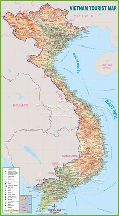Large detailed tourist map of Vietnam with cities and towns Vietnam Map, Vietnam Hotels, Vietnam Travel, Destin Hotels, Tourist Map, Printable Maps, Country Maps, Topographic Map, Island Beach