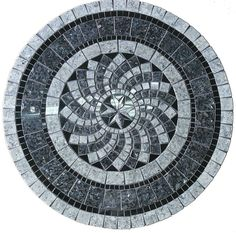 Gray north star mosaic stone tile table top, for outdoors or indoor use.