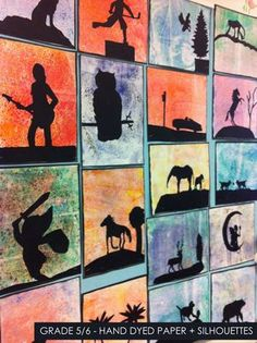 Great simple art project to do this week. #homeschool #artproject >>artisan des arts: Hand dyed paper with silhouettes - grade 5/6