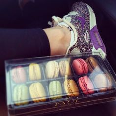 Macarons, love, rainbow, airmax, nike, happy, colours, purple, skinny, fit, legs, sport, girl, fashion, glam, vogue, paul, hot