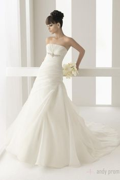Crystals Pleated Long White Chapel Train Wedding Dress