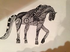 Zendoodle horse. Hand Henna, Hand Tattoos, To My Daughter, Art Pieces, Horses, Artworks, Horse, Words