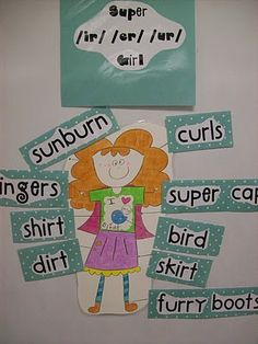 Super ir / ur/ er girl!    This super girl (I think I'll name her Fern) is flying into our classroom this week to teach r-controlled vowels!  She is going to be one of the choices at word work station--the kids will use the magnetic words to label her with super words.  I also made an identical workpage (just much, much smaller!) for the kids to practice spelling the words on the labels!