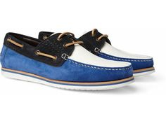 leather and suede boat shoes by Lanvin