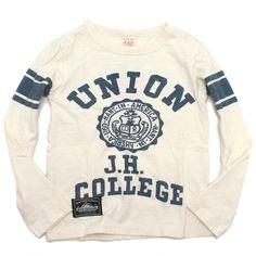 OFFICIAL TEAM(オフィシャルチーム):UNION カレッジロンT オフホワイト の通販【ブランド子供服のミリバール】