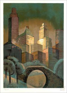 Louis TOFFOLI : New York - Lithographie originale signée au crayon et justifiée - 53x38cm