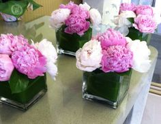 always forget how much I love peonies - especially like this - a nice, simple centerpiece idea