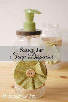 Pasta Sauce Jar Soap Dispenser - Upcycled jar into soapdispenser