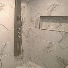 Duomo 12 x 24 Porcelain Field Tile in Bianchi White Bathroom Tiles, Bathroom Tile Designs, Bathroom Flooring, Small Bathroom, Master Bathroom, Bathroom Showers, Bathroom Ideas, Bathroom Renos, Bathroom Bin