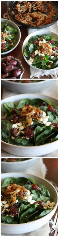 {Spinach Salad with Caramelized Onions, Dates, and Feta + Balsamic Vinaigrette} You are going to love the melody of flavors that this salad delivers from the caramelized onions, feta, and dates.  This is my perfect springtime salad.